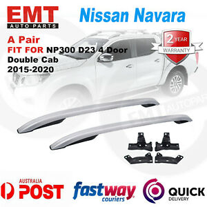 2 Alloy Roof Rail Silver For Nissan Navara NP300 D23 4 Door Double Cab 2015-2020