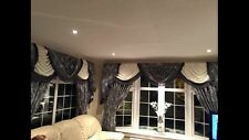 Grey/Black Damask Designer Curtains Swags & Tails Lined 7-8ft Tasseled