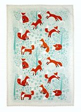 "Ulster Weavers, ""Foraging Foxes"", Pure Cotton printed tea towel."