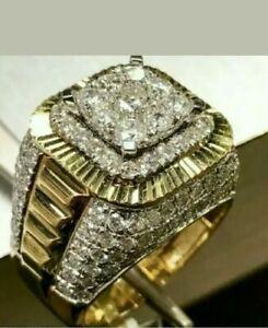 Diamond 4.00 Carat Round Cut Men's Wedding Pinky Band Ring 14K Yellow Gold Over