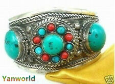 Beautiful Tibet Silver Turquoise Cuff bangle Bracelet