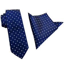 Navy White Polka Dots 6.5CM Skinny Ties Neckties with Matching Pocket Square