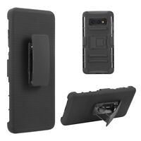Case For Samsung GALAXY S10 /Plus /E Hybrid TPU Rugged HOLSTER Stand Cover BLACK