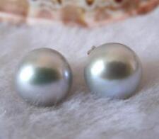 Genuine 10-11mm Gray Akoya Cultured Pearl Silver Stud Earrings