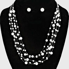 White Pearl Multi Strand Necklace Set Wedding Prom Bridal Jewelry Set  # 39761