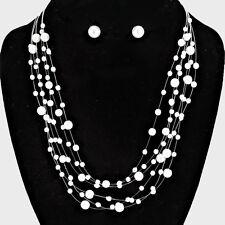 White Pearl Multi Strand Necklace Set Wedding Prom Bridal Jewelry Set  # 39761