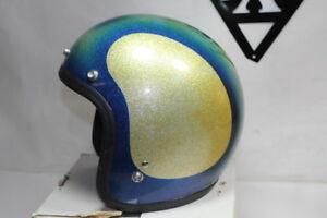 Vintage Metalflake 3/4 helmet size L Blue Gold buco shoei Harley Honda EPS20125