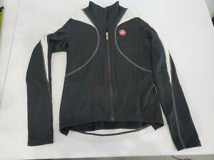 Castelli Cycling Jacket Womens Size Small Black + White Full Zip Jacket