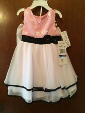 Rare Editions Dress 24 Months pink & white W/Panties 2 Pieces NWT Retails $44