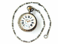 19-th C SILVER POCKET WATCH w/ Silver FOB Highly-Finished, French Baroque