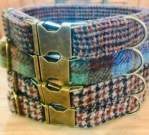 Harris Tweed adjustable dog collar with antique brass fittings