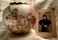 1895 Antique LIMOGES France- Hand Painted- Porcelain Floral ROSE BOWL- Signed