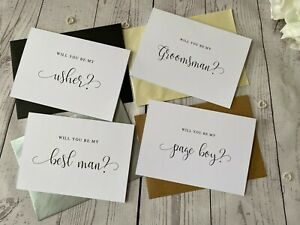 Will You Be My Best Man Card - Usher - Groomsman - Swirly Font - With Envelopes