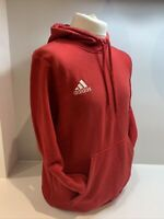 Mens Red Adidas Pull Over Hoodie Size Large Embroidered Logo