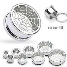 Spiderweb Tunnel Plug Ear Stretcher Earring Screw Fit Surgical Steel