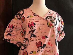 Scrubs Scrub Top Disney Cartoon Minnie Mouse Shopping Fashion themed  2XL (H76)