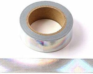 Washi-Tape, dekorativ, selbstklebend, 15 mm x 10 m, silberfarben Hologramm