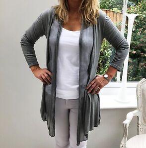 Fine Knit Grey Cardigan with 100% Silk Drape Front