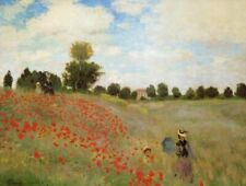 Field of Poppies by Claude Monet Floral Flowers Landscape Fine Art Print 17x22 ❤