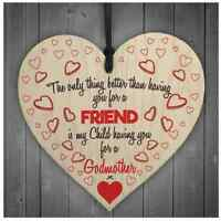 Godmother Christening Friend Plaque Gift Wood Shabby Chic Hanging Heart Love H01