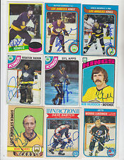1982-83 OPC SIGNED CARD MORRIS LUKOWICH JETS FLYERS KINGS BRUINS AEROS WHA # 383