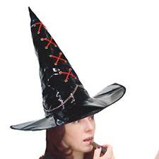 Chapeau de sorcier sorcière vinyle noir lacet rouge 969170 halloween comte fetes