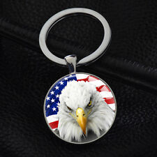 America Flag Keychains Silver Pendant Key Chain Party Gift Cool Eagle Keyrings