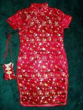 Girls Chinese Dress Qipao Flower Oriental Cheongsam with Purse 9M to 14 Years
