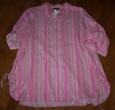 NWT Intro $49 Pink/Ivory Vertical Stripes Blouse Tunic Top 1X SIDE LACE-UP TIES