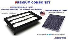 COMBO ENGINE & CHARCOAL CABIN AIR FILTER For 2016 2017 HONDA CIVIC 1.5L TURBO
