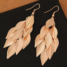 Gold Long Leaf Statement Earrings Feathers Drop Party Dangle UK Seller