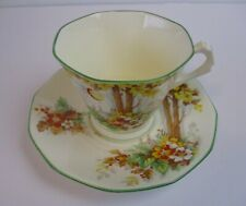 TUSCAN CUP & SAUCER   VERY LIGHT YELLOW WONDERFUL CONDITION  TREES FALL COLORS
