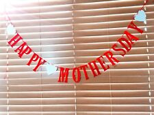 Happy Mothers day Banner/Bunting *SPARKLY RED * Handmade *2.5m Long*