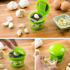 US Mini Garlic Perfection Garlic Press Mincer Slicer Chopper With 2 Blades-Green