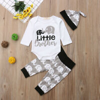3 Pcs Newborn Baby Boy Romper Tops+Pants+Hat Clothes Set Little Brother Outfit