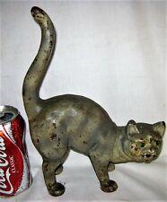 """BEST!!""  ANTIQUE HUBLEY TOY CO. USA STRIPE TABBY CAST IRON CAT STATUE DOORSTOP"