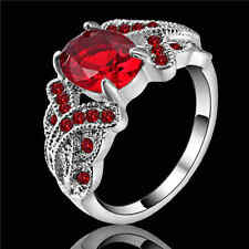 Size 8 Red Ruby Wedding Rings white Rhodium Plated Women's Jewelry