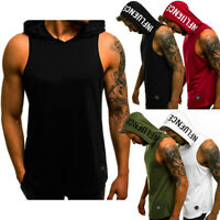 Mens Muscle Hoodie Tank Top Bodybuilding Gym Workout Sleeveless Vest T Shirt AU