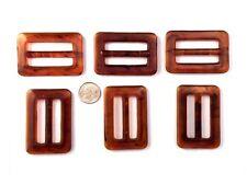 6 pcs Scarf Slide Ring Clip or T-Shirt Buckle Tortoise Color Plastic Retro 5073