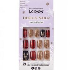 NEW Kiss Nails Limited Edition Glue Manicure Medium Reindeer Plaid Red Christmas