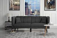 Mid Century Modern Plush Tufted Linen Fabric Living Room Sleeper Futon (Dark...