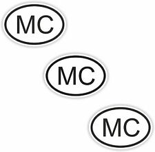 3x Oval Black & White Stickers Monaco Small Country Code Tablet phone Case