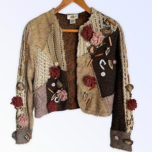 Sandy Starkman Cardigan S 10 12  Multi Wool Blend Mixed Media Arty Boho Punk