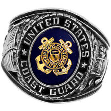 Official US Coast Guard Deluxe Engraved Silver Color Ring -Size 14