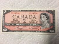 1954 CANADIAN UNCIRCULATED 2 DOLLAR BILL