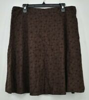 Style & Co Womens Brown Floral Skirt Concealed Back Zip Cotton Knee Length 16