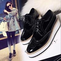 Womens Fashion Flat Platform Creeper Lace Up Retro Brogues Oxford Wingtip Shoes