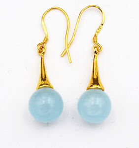 Beautiful Natural  Brazil Sapphire 925 Silver Gold-plated/Dangle Earrings