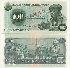 ANGOLA  100 Kwanza 1976   UNC   P111s   SPECIMEN banknote ~ all zeroes serial No
