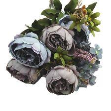 Artificial Bouquet 10 Head Peony Silk Flower Fake Leaf Home Wedding Party Decor Light Purple Blue